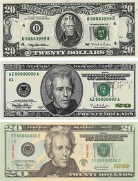 Three $20 bills of different designs